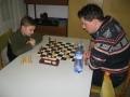 6. turnaj O pohár TJ Jiskra HB 8.1.2016 Nejmladší účastník Ruda Jun v partii Davidem Brožem